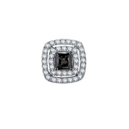 Certified 10k White Gold Whit and Black Round Cut SINGLE Diamond Earring 0.38 ct. tw.