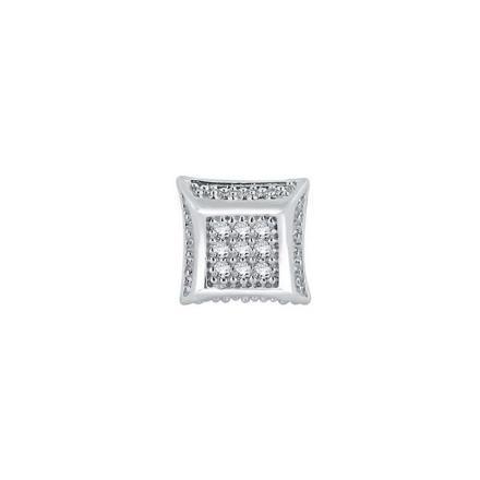Certified 10k White Gold Round Cut White SINGLE Diamond Earring 0.04 ct. tw.