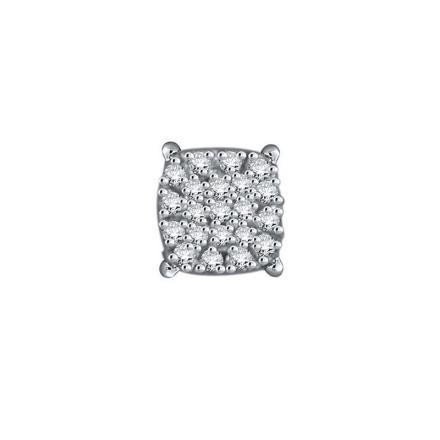 Certified 10k White Gold Round Cut White SINGLE Diamond Earring 0.08 ct. tw.