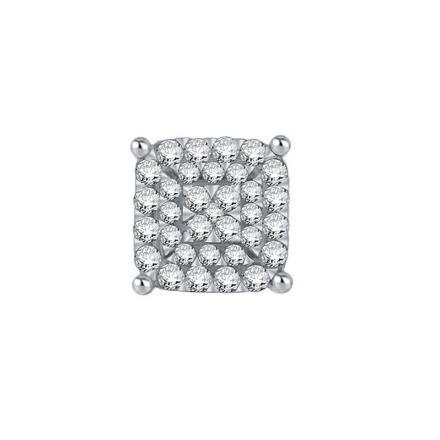 Certified 10k White Gold Round Cut White SINGLE Diamond Earring 0.20 ct. tw.