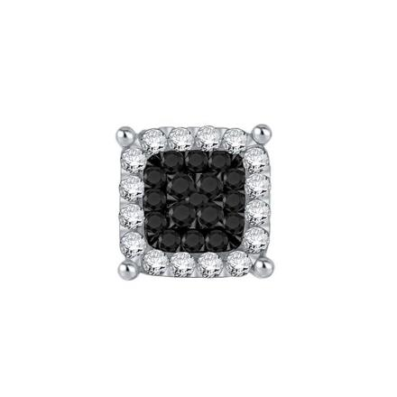 Certified 10k White Gold Black & White Round Cut SINGLE Diamond Earring 0.20 ct. tw.