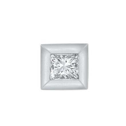 Certified 10k White Gold Princess Cut White SINGLE Diamond Earring 0.05 ct. tw.