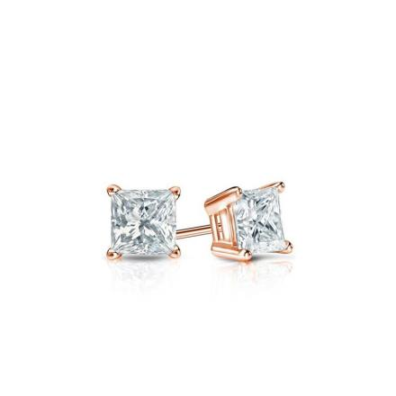 Certified 14k Rose Gold 4-Prong Basket Princess Baby Diamond Stud Earrings  0.20ct. tw. (I-J, I1)