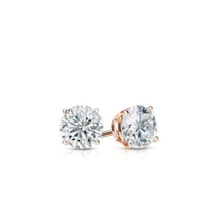 Certified 14k Rose Gold 4-Prong Basket Round Baby Diamond Stud Earrings  0.10ct. tw. (I-J, I1)