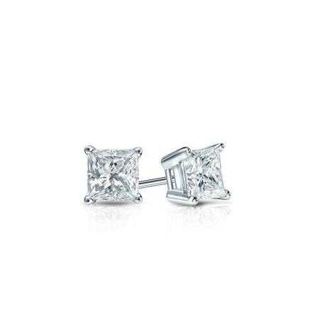 Certified 14k White Gold 4-Prong Basket Princess Baby Diamond Stud Earrings 0.20ct. tw. (I-J, I1)