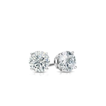 Certified 14k White Gold 4-Prong Basket Round Baby Diamond Stud Earrings 0.10ct. tw. (I-J, I1)