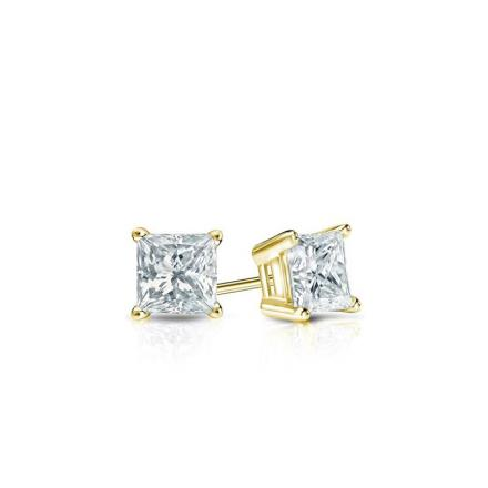 Certified 14k Yellow Gold 4-Prong Basket Princess Baby Diamond Stud Earrings 0.15ct. tw. (I-J, I1)