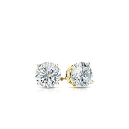 Certified 14k Yellow Gold 4-Prong Basket Round Baby Diamond Stud Earrings 0.10ct. tw. (I-J, I1)