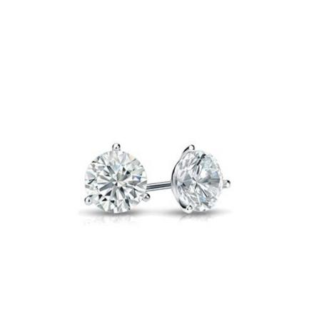 Certified Platinum 3-Prong Martini Round Baby Diamond Stud Earrings  0.15ct. tw. (I-J, I1)