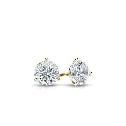 Certified 14k Yellow Gold 3-Prong Martini Round Baby Diamond Stud Earrings 0.15ct. tw. (I-J, I1)