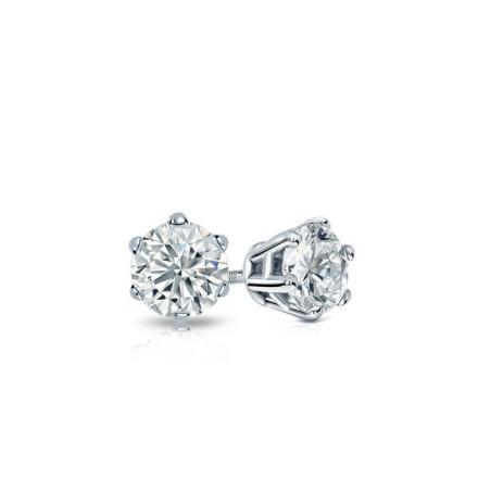 60c3a22946e Certified 14k White Gold 6-Prong Basket Round Baby Diamond Stud Earrings  0.20ct. tw. (I-J, I1)