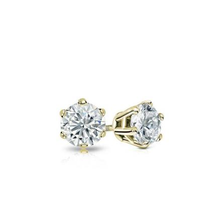Certified 14k Yellow Gold 6-Prong Basket Round Baby Diamond Stud Earrings 0.20ct. tw. (I-J, I1)