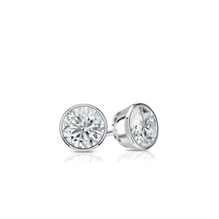 Certified 18k White Gold Bezel Round Baby Diamond Stud Earrings  0.20ct. tw. (I-J, I1)