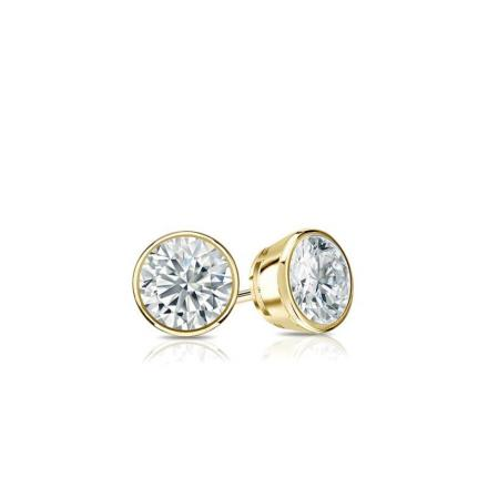 Certified 14k Yellow Gold Bezel Round Baby Diamond Stud Earrings 0.20ct. tw. (I-J, I1)