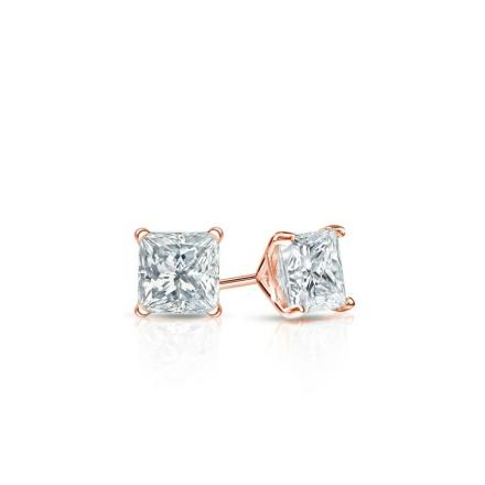 Certified 14k Rose Gold 4-Prong Martini Princess Baby Diamond Stud Earrings  0.10ct. tw. (I-J, I1)