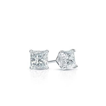 Certified Platinum 4-Prong Martini Princess Baby Diamond Stud Earrings  0.10ct. tw. (I-J, I1)