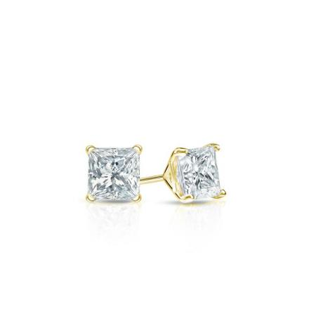 Certified 18k Yellow Gold 4-Prong Martini Princess Baby Diamond Stud Earrings  0.10ct. tw. (I-J, I1)