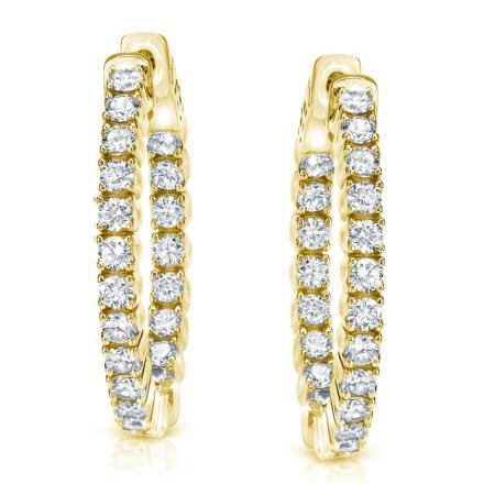 Certified 14k Yellow Gold Medium Round Inside Out Diamond Hoop Earrings 2 00 Ct Tw J K I1 I2 0 86 Inch 22mm