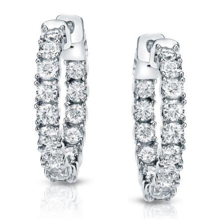 Certified 14K White Gold Medium Round Inside-Out Diamond Hoop Earrings 3.00 ct. tw. (J-K, I1-I2), 0.86-inch (22mm)