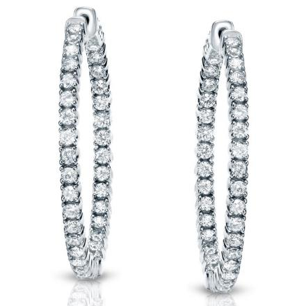 Certified 14K White Gold Medium Round Diamond Hoop Earrings 3.00 ct. tw. (H-I, SI1-SI2), 1.29-inch (33mm)