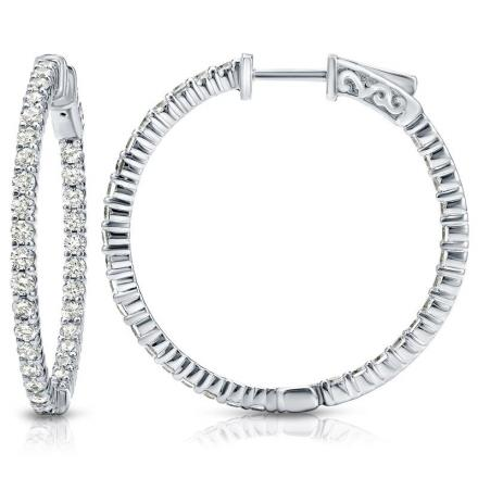 Certified 14K White Gold Large Round Diamond Hoop Earrings 3.00 ct. tw. (J-K, I1-I2), 1.75-inch (44.45mm)