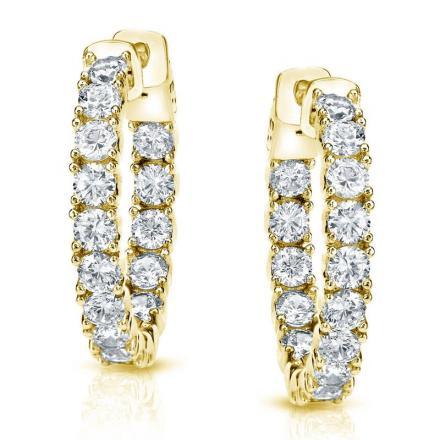 Certified 14K Yellow Gold Medium Round Diamond Hoop Earring 3.00 ct. tw. (J-K, I1-I2), 0.86-inch (22mm)