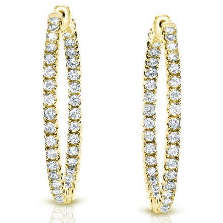 Certified 14K Yellow Gold Medium Round Diamond Hoop Earring 3.00 ct. tw. (J-K, I1-I2), 1.29-inch (33mm)