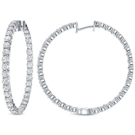 Certified 14k White Gold Extra Large Round Diamond Hoop Earrings 14 50 Ct Tw H I Si1 Si2 2 24 Inch 57mm