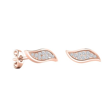 Certified 14k Rose Gold Round-cut Diamond Stud Earrings 0.15 ct. tw.
