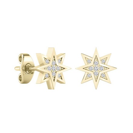 Certified 14k Yellow Gold Starburst shaped Round-cut Diamond Stud Earrings 0.07 ct. tw.