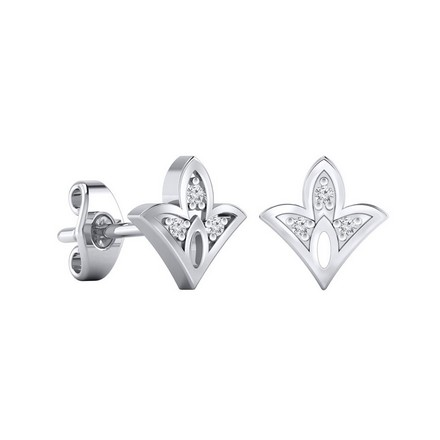 Certified 14k White Gold Spade shaped Accent Diamond Stud Earrings 0.04 ct. tw.