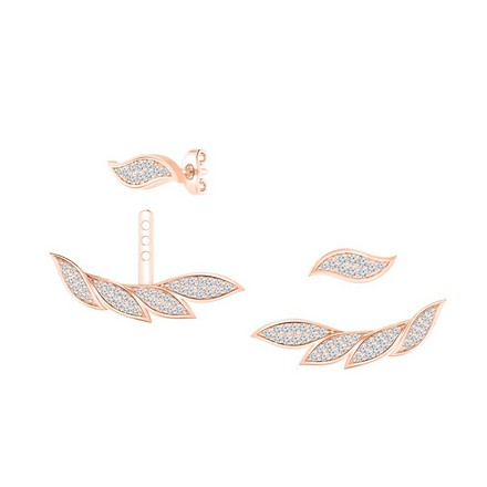 Certified 14k Rose Gold Double Sided Feather Round-cut Diamond Stud Earrings 0.60 ct. tw.