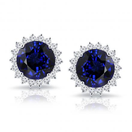 18K White Gold Halo Diamond Earrings with 15 cttw Round Blue Sapphire IGI Certified