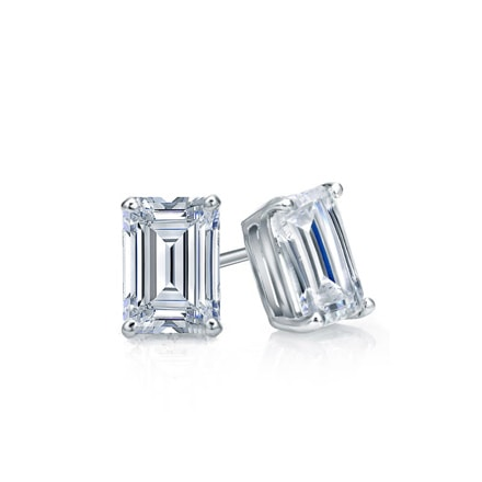 Certified 14k White Gold 4-Prong Basket Emerald Cut Diamond Stud Earrings 0.50 ct. tw. (I-J, I1)