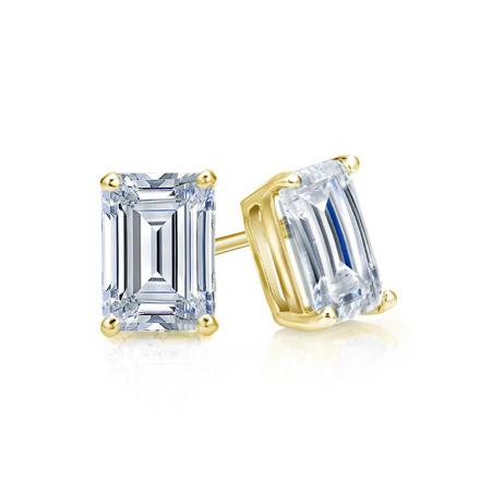 Certified 18k Yellow Gold 4-Prong Basket Emerald Cut Diamond Stud Earrings 0.75 ct. tw. (I-J, I1-I2)