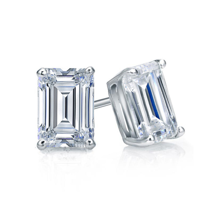 emerald cut stud earrings certified 14k white gold 4 prong basket emerald cut 3315
