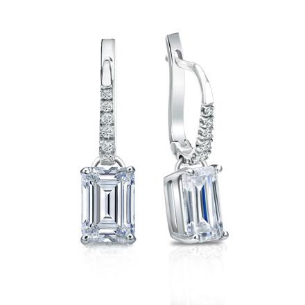 Certified Platinum Dangle Studs 4 G Basket Emerald Cut Diamond Earrings 2 00 Ct Tw