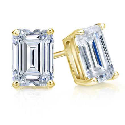 bfb528c4d Certified 18k Yellow Gold 4-Prong Basket Emerald Cut Diamond Stud Earrings  2.00 ct. tw. (I-J, I1) - DiamondStuds.com