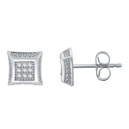 Certified 10k White Gold Round Cut White Diamond Earrings 0.08 ct. tw.