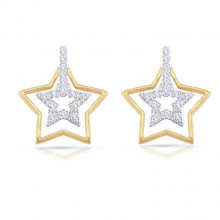 Certified 14k Two-Tone Round Diamond Star Shaped Dangling Earrings (1/6 cttw)