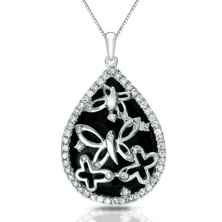 Certified 14k White Gold Black Onyx and Diamond Pendant Neckalce (1/3 cttw)