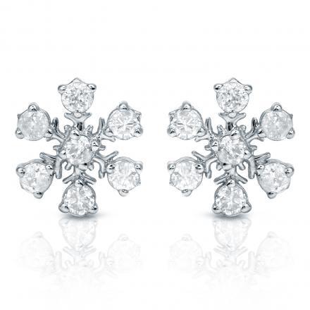 Certified 10k White Gold Snow Flake Round Diamond Earrings (1/3 cttw)