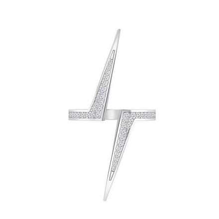 Certified 14k White Gold Lightning Inspired Diamond Ring 0.18 cttw