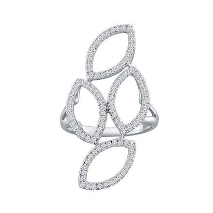 Certified 14k White Gold Fashion Geometric Diamond Ring 0.56 cttw