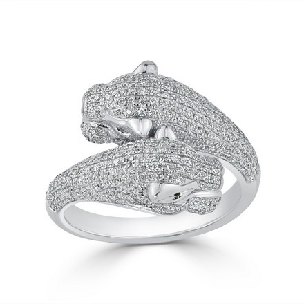 Certified 14k White Gold Animal Fashion Emerald and Diamond Ring