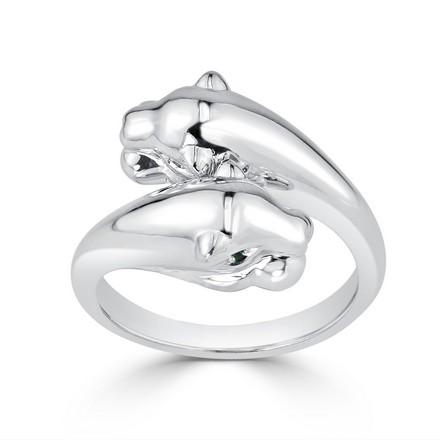 Certified 14k White Gold Animal Fashion Emerald Ring
