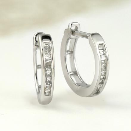 Certified 10K White Gold Petite Baguette Diamond Huggie Hoop Earrings 0.12 ct. tw. (H-I, I1-I2), 0.50-inch (12.9mm)