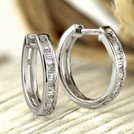 Certified 10K White Gold Baguette Diamond Huggy Hoop Earrings 0.27 ct. tw. (H-I, I1-I2)