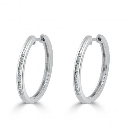 Certified 10K White Gold Medium Baguette Diamond Huggie Hoop Earrings 0.22 ct. tw. (H-I, I1-I2), 0.83-inch (21.5mm)
