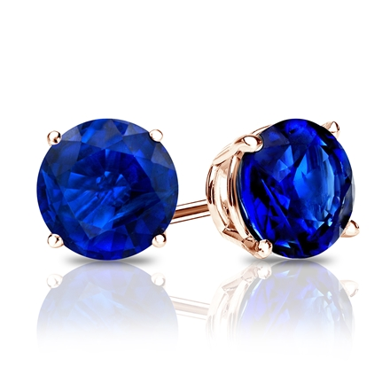 14k Rose Gold 4-Prong Basket Round Blue Sapphire Gemstone Stud Earrings 0.25 ct. tw.